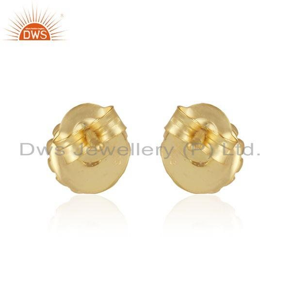 Designer of Designer handmade stud in yellow gold on silver 925 with pearl