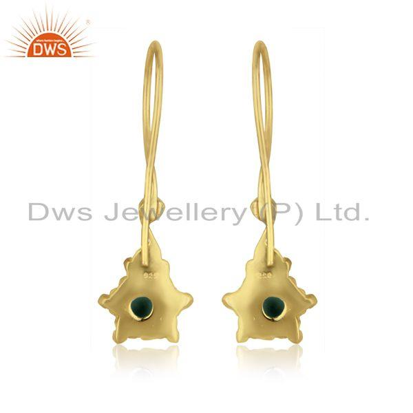 Designer of Handmade earring in yellow gold over silver 925 and amazonite