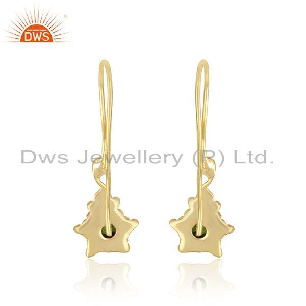 Designer of Handmade earring in yellow gold over silver and chrome diopside