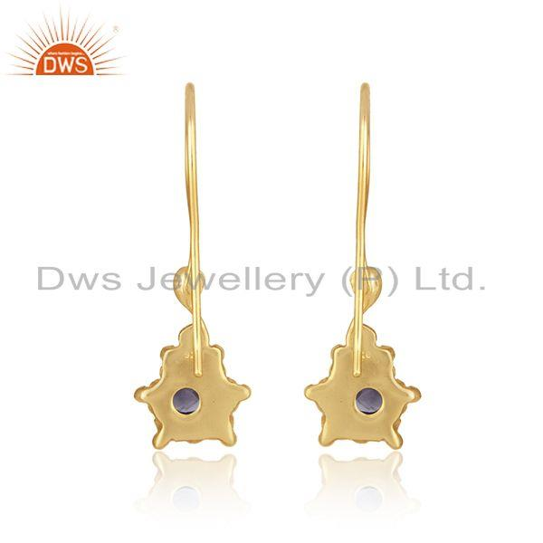 Designer of Designer dangle earring in yellow gold on silver with iolite