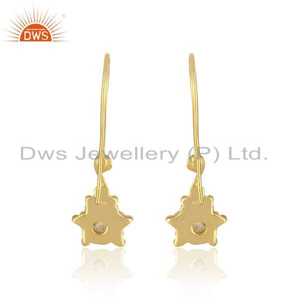 Designer of Handcrafted dangle earring in yellow gold on silver with pearl