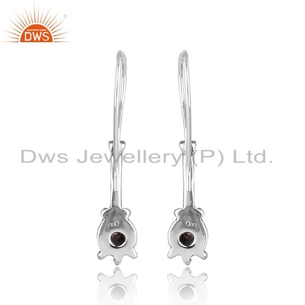 Suppliers Natural Amethyst Oxidized Silver Antique Design Hook Earrings
