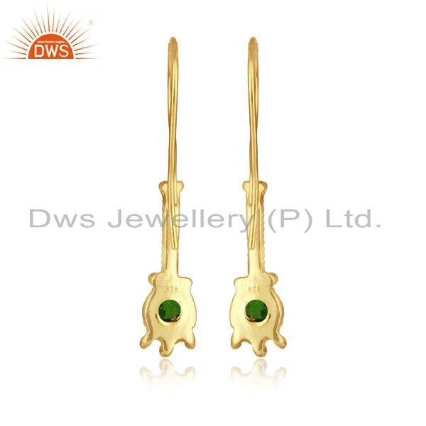 Designer of Designer earring in yellow gold on silver with chrome diopside