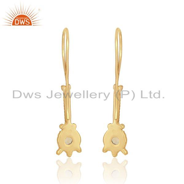 Designer of Elongated design earring in yellow gold on silver with citrine