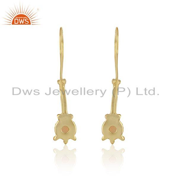 Designer of Designer earring in yellow gold on silver 925 with ethiopian opal