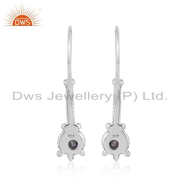 Designer of Natural iolite gemstone oxidized plated designer silver earrings