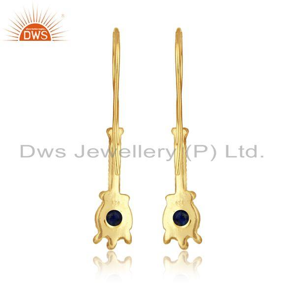 Designer of Designer long earring in yellow gold on silver 925 with lapis