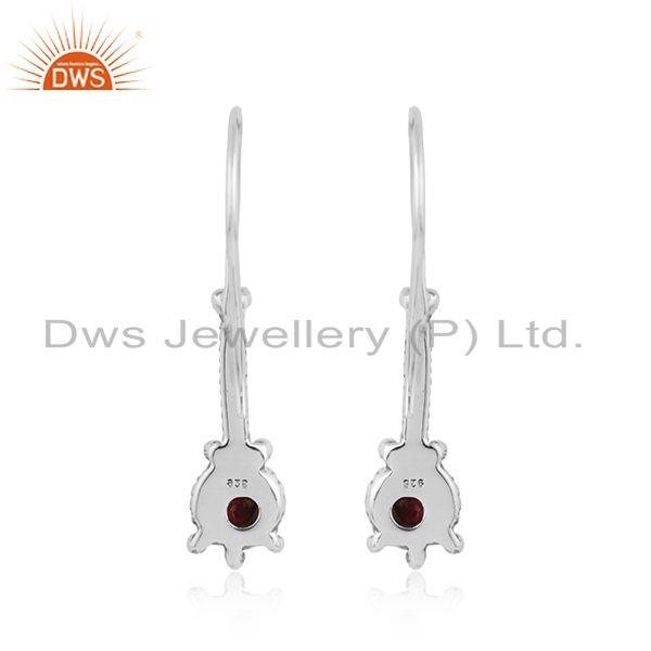 Designer of Pink tourmaline gemstone womens designer oxidized silver earrings