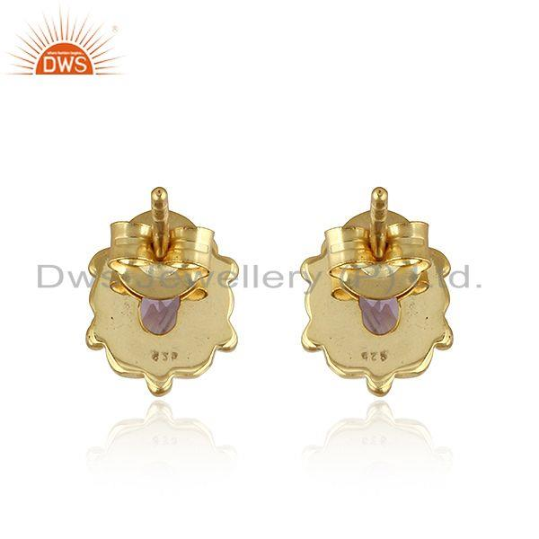 Suppliers Natural Amethyst Gold Plated 92.5 Silver Designer Stud Earrings