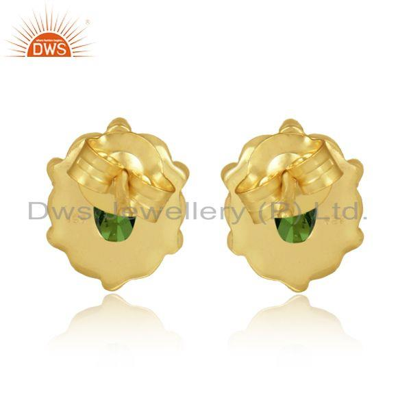 Designer of Dainty earring in yellow gold over silver with chrome diopside