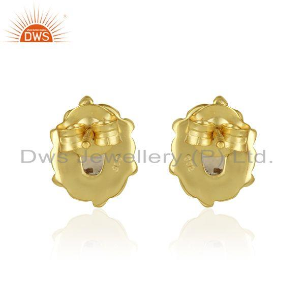 Designer of Handcrafted earring in yellow gold on silver 925 with citrine