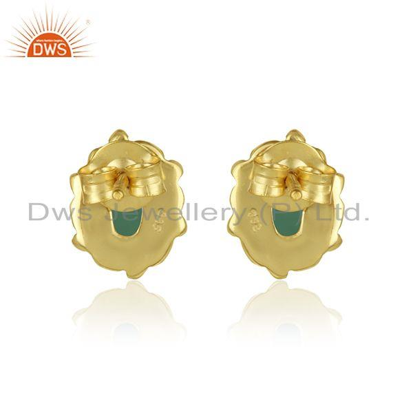Designer of Dainty texture earring in yellow gold over silver with emerald