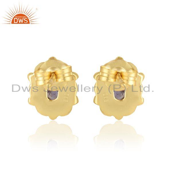 Designer of Handcrafted dainty earring in yellow gold on silver with iolite