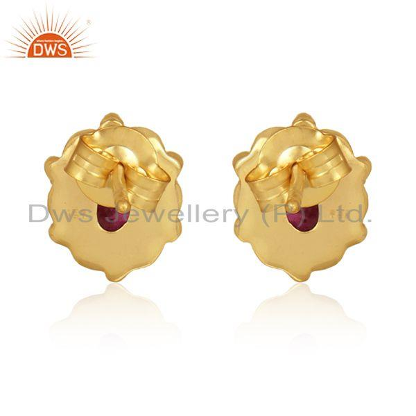 Designer of Pink tourmaline gemstone womens gold plated silver stud earrings