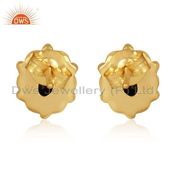 Designer of Black onyx gemstone gold plated 925 silver designer stud earrings