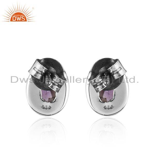 Suppliers Handmade Oxidized Plated Sterling Silver Amethyst Stud Earrings