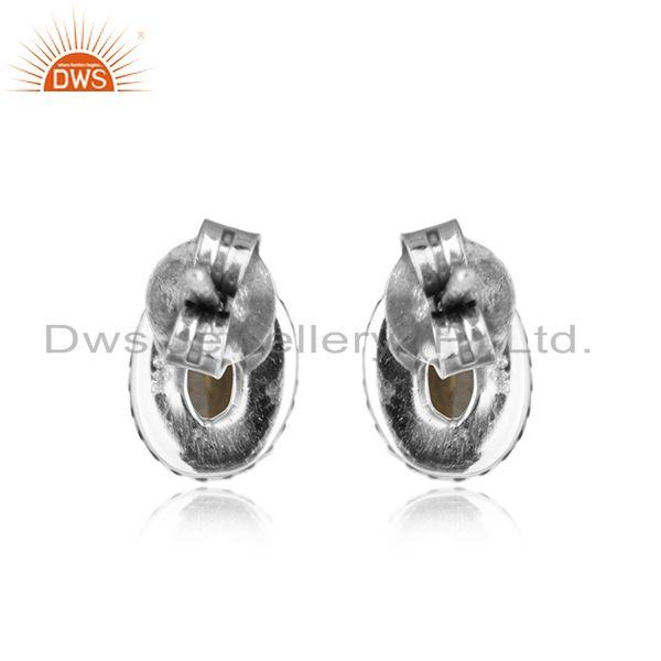 Designer of Citrine gemstone womens indian oxidized 925 silver stud earrings
