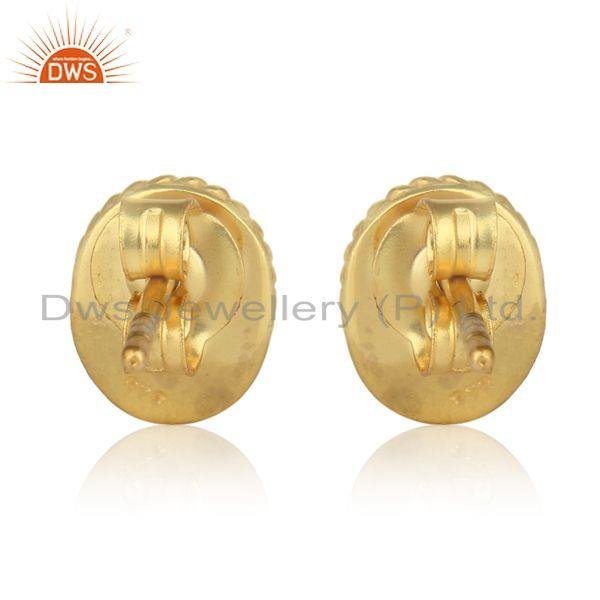 Designer of Textured silver 925 stud with citrine and yellow gold plating