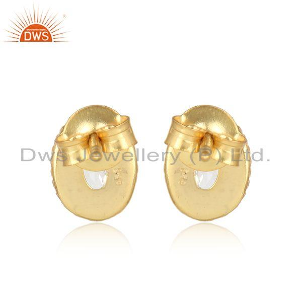Designer of Textured silver stud 925 with crystal and yellow gold plating
