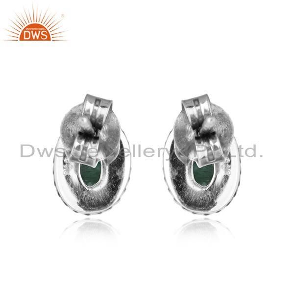 Designer of Natural emerald gemstone oval design oxidized silver stud earrings