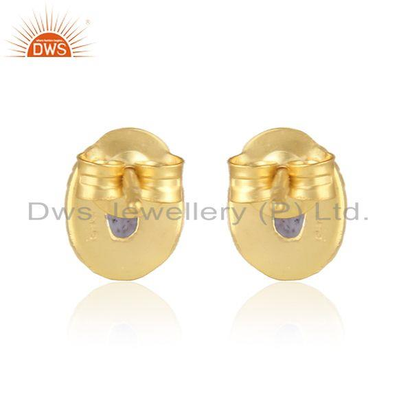 Designer of Handmade silver 925 earring with iolite and yellow gold plating