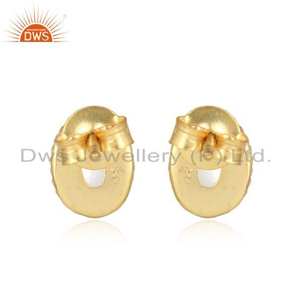 Designer of Textured silver stud 925 with pearl and yellow gold plating