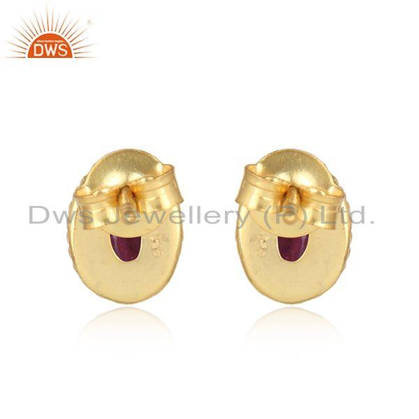 Designer of Textured silver stud 925 with ruby and yellow gold plating