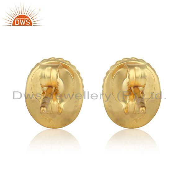 Designer of Handmade silver earring with rainbow moonstone and yellow gold on