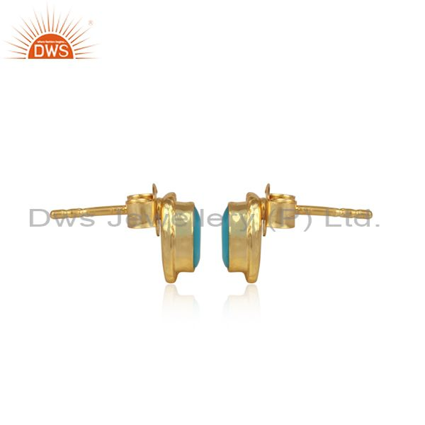 Designer of Textured silver 925 stud with turquoise and yellow gold plating