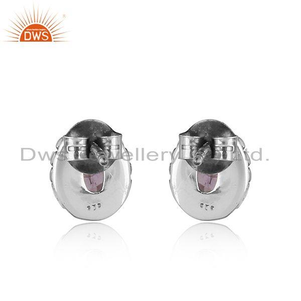 Suppliers Natural Amethyst Black Oxidized 925 Sterling Silver Stud Earrings