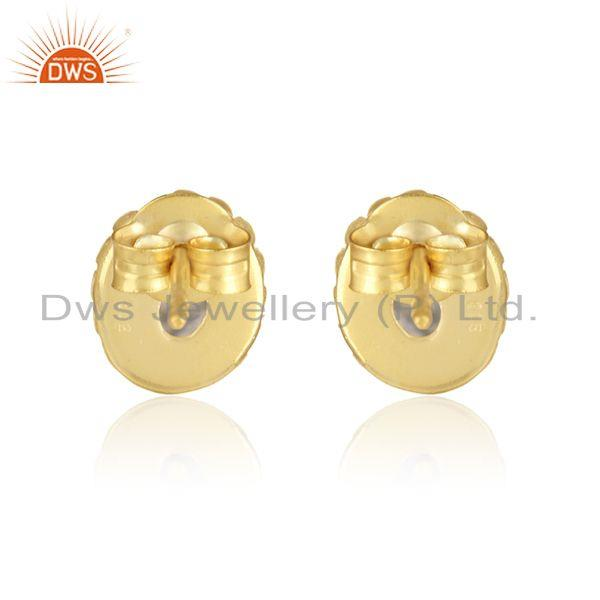 Designer of Textured dainty stud in yellow gold over silver with black rutile