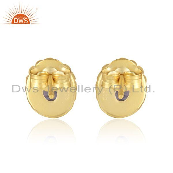 Designer of Designer handmade stud in yellow gold on silver 925 with iolite