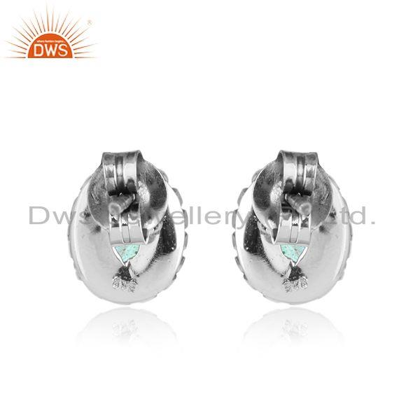 Designer of Labradorite gemstone womens oxidized plated 925 silver stud earring