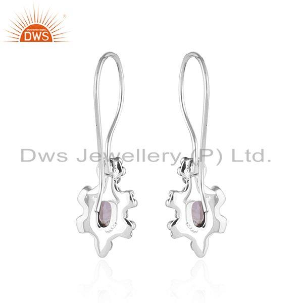 Suppliers Black Oxidized Plated 92.5 Silver Amethyst Gemstone Earrings