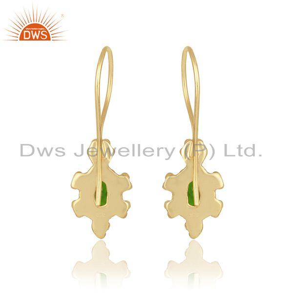 Designer of Handcrafted earring in yellow gold on silver with chrome diopside