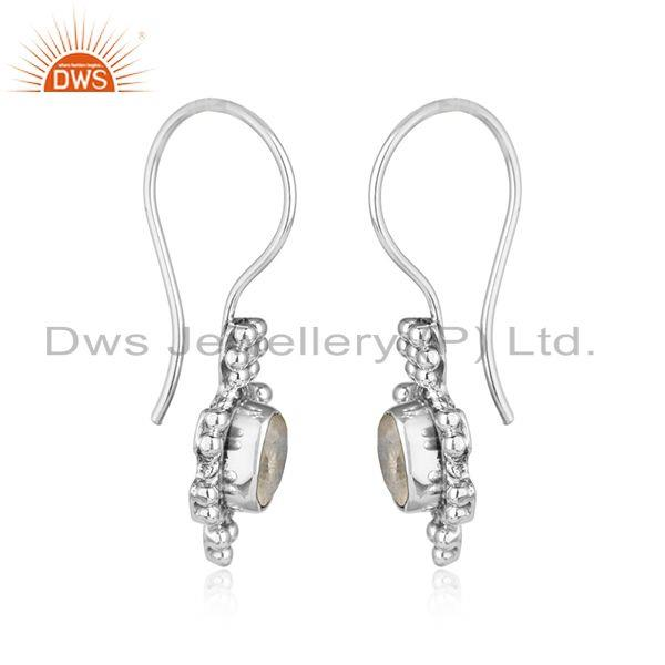 Designer of Rainbow moonstone womens oxidized 925 silver gemstone earrings