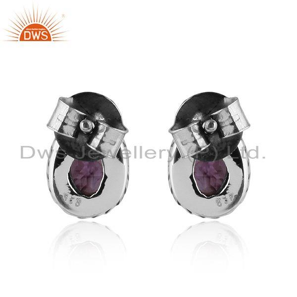 Suppliers Pear Shape Amethyst Gemstone Oxidized 92.5 Silver Stud Earrings