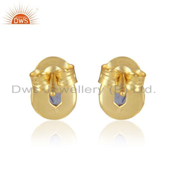 Designer of Handmade stud in 18k yellow gold over silver 925 with iolite