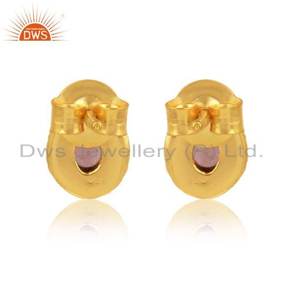Designer of Pear shape pink tourmaline gemstone gold plated silver earrings