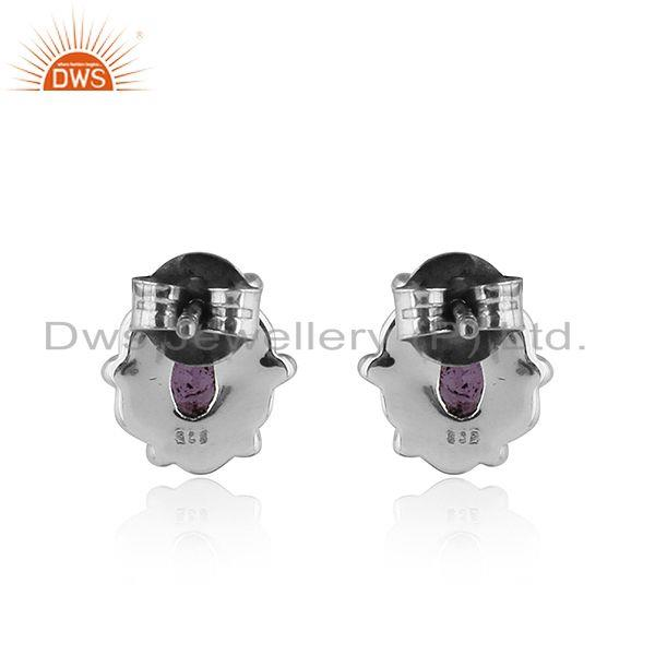 Suppliers Black Oxidized 92.5 Silver Amethyst Gemstone Stud Earring Jewelry