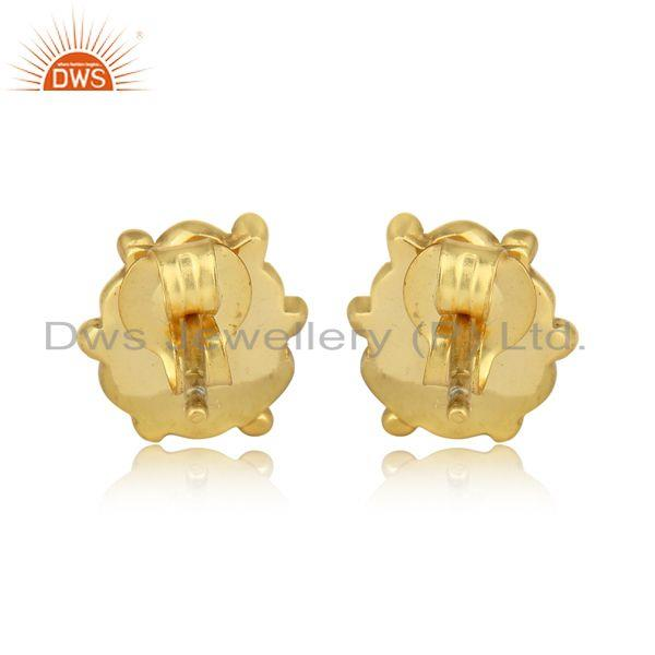 Designer of Handcrafted dangle earring in yellow gold on silver with citrine