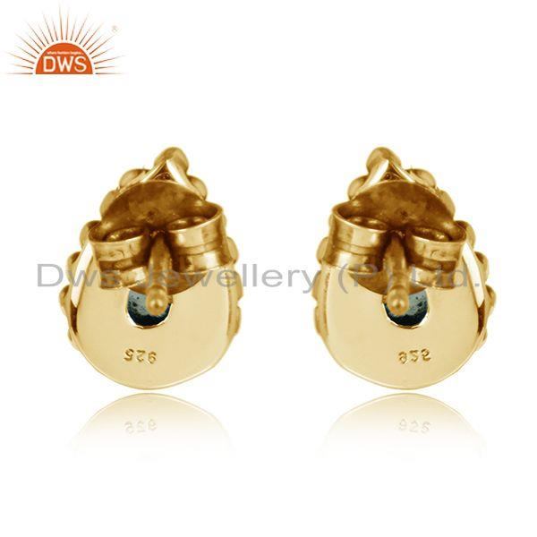 Designer of Pear design gold plated 925 silver aqua chalcedony stud earrings