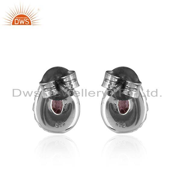Suppliers Pear Shape Amethyst Gemstone Silve Oxidized Stud Earrings Jewelry