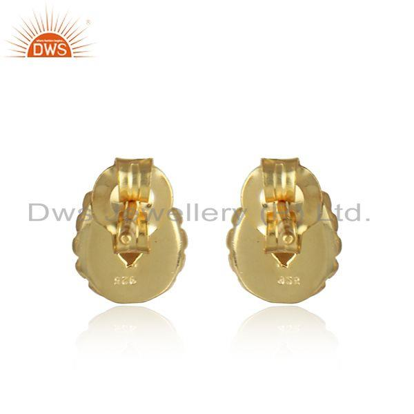 Designer of Natural pearl gemstone womens 18k gold plated silver stud earring