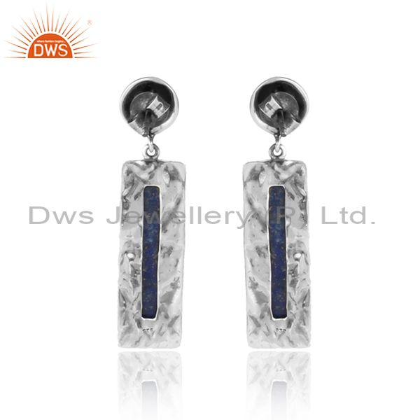 Designer of Oxidized texture 925 silver lapis lazuli gemstone dangle earrings