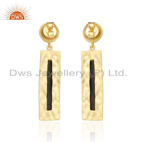 Suppliers Handmade Gold Plated Silver Texture Design Black Onyx Earrings