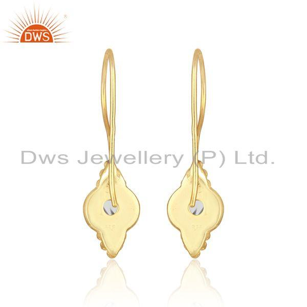 Designer of Handmade earring in yellow gold over silver 925 with black rutile