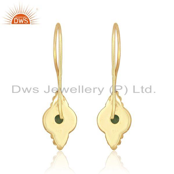 Designer of Handmade earring in yellow gold over silver 925 with emerald