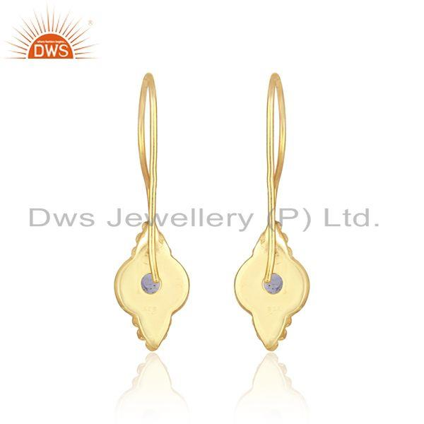Designer of Handmade earring in 18k yellow gold over silver 925 with iolite