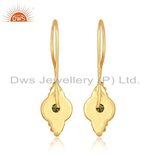 Designer of Textured earring in yellow gold over silver 925 with peridot